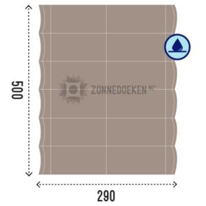 Groot formaat harmonica zonnedoek van 500x290 cm water afstotend, geschikt voor pergola