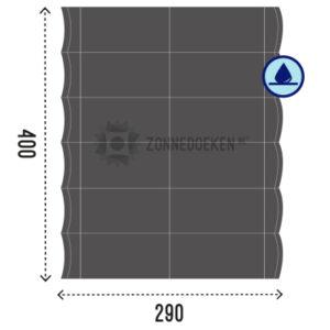 Schaduwdoek voor pergola gevormd als harmonica in de kleur Grijs, water afstotend in het formaat 400x290 cm