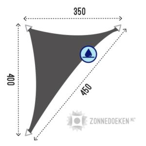 Lange driehoekige schaduwdoek van 350x400x450 cm waterafstoten in de kleur Grijs