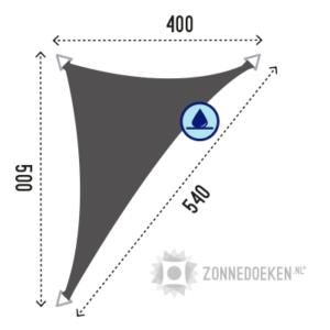 waterproof schaduwdoek van 500x400x540 cm in de kleur grijs