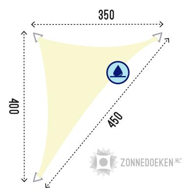 waterafstotende zonnedoek in de vorm van een langwerpige driehoek van 350x400x450 cm in de kleur Ivoor