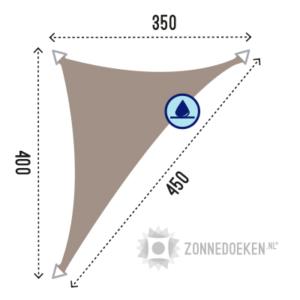 waterafstotende zonnedoek in de vorm van een langhoek met afmeting 350x400x450 cm in de kleur Taupe