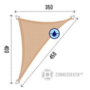 Grote zonnedoek in de vorm van een lange driehoek van 350x400x450 cm in de kleur Zand waterdoorlatend