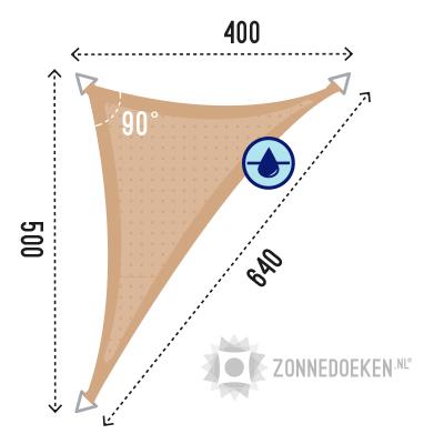 Langhoek schaduw doek van 500x400x640 cm in de kleur Zand