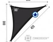 Langhoek zonnedoek in de kleur zwart 300x300x420 cm
