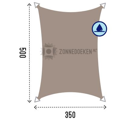 Grote rechthoekige schaduwdoek van 500x350 cm in de kleur Taupe, waterafstotend