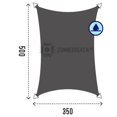 water afstotende schaduwdoek van 500x350 cm in de kleur Grijs